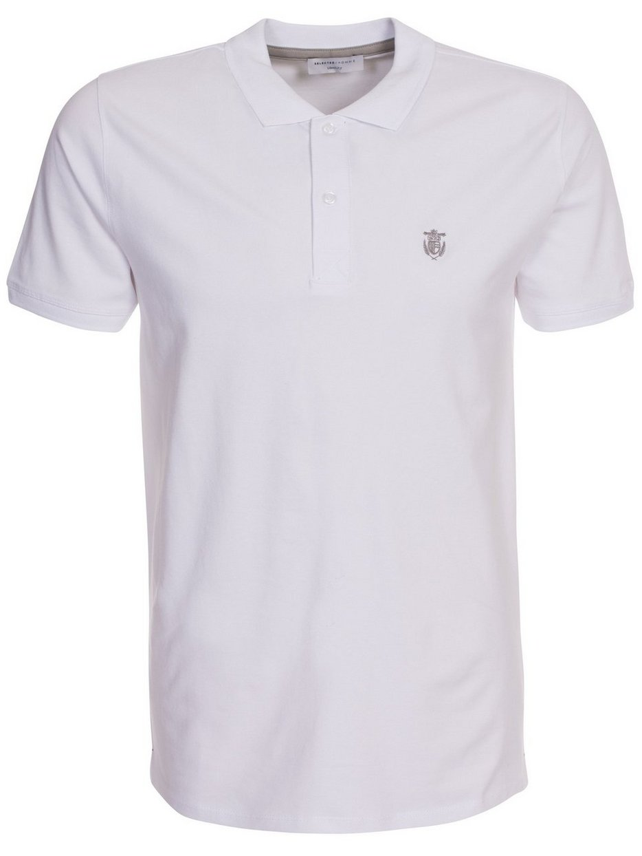 Slharo Ss Embroidery Polo W Noos Selected Homme Weiss Polo