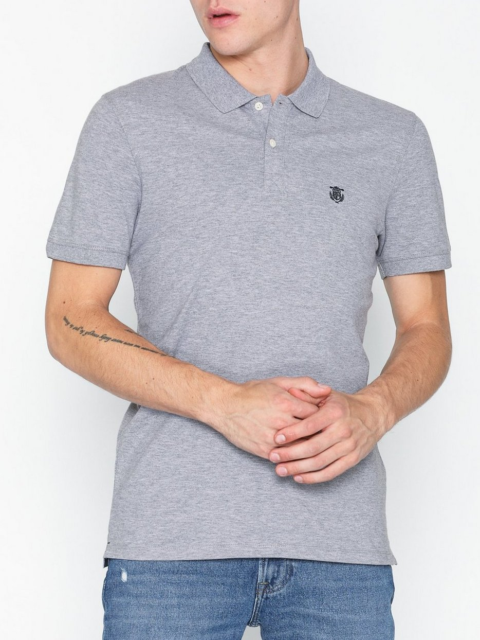 Slharo Ss Embroidery Polo W Noos Selected Homme Grau Polo