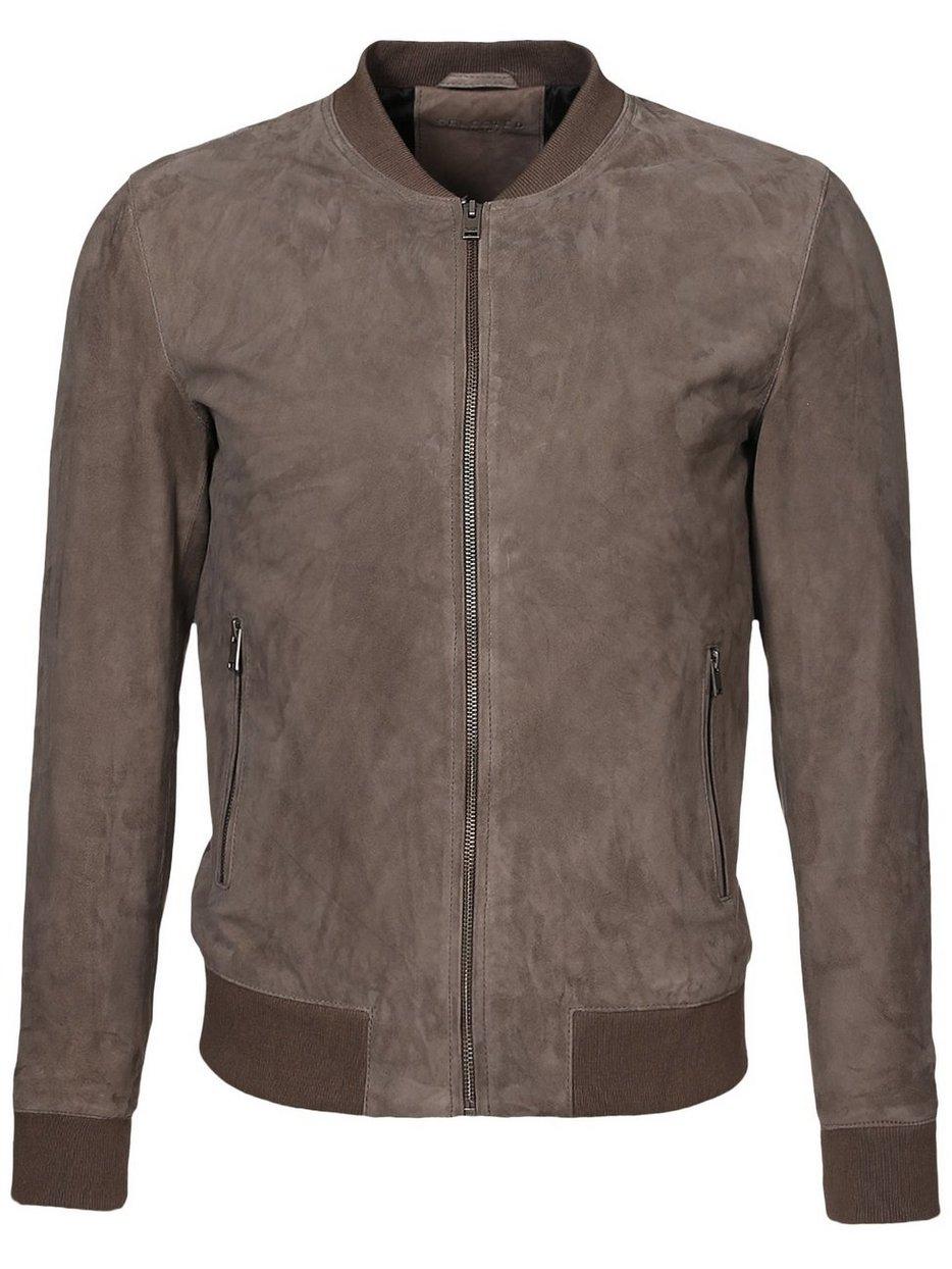 Shnmark Suede Bomber Jacket - Selected Homme - Grey - Jackets ...