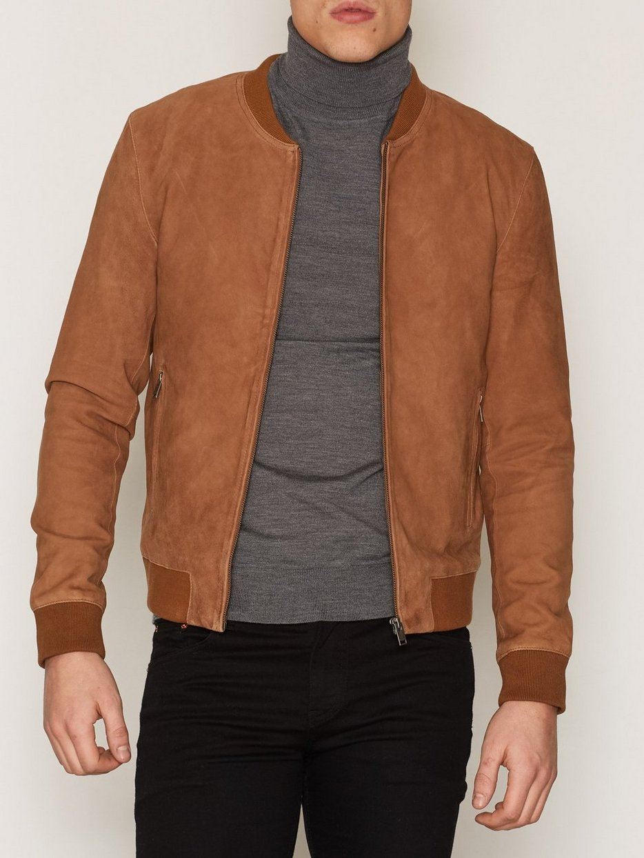 Shnmark Suede Bomber Jacket Noos Selected Homme Light