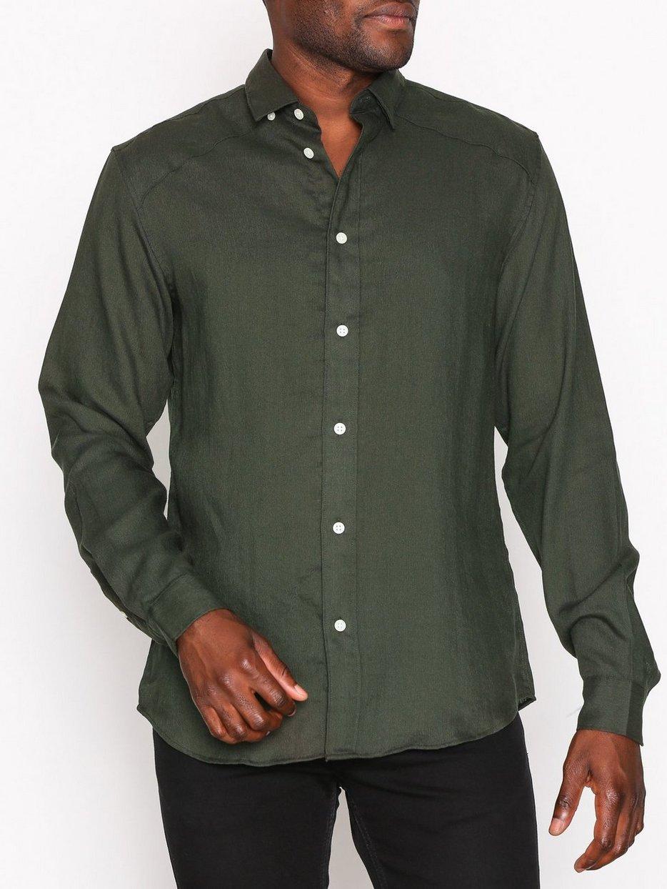 Shhtwojay Shirt Ls - Selected Homme - Dark Green - Shirts (Men ...