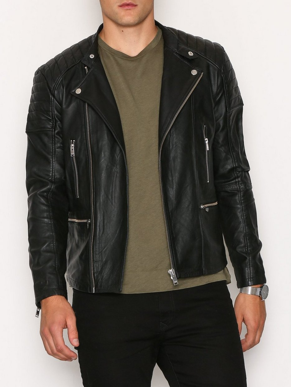 Shnjones Biker Leather Jacket - Selected Homme - Black - Jackets ...