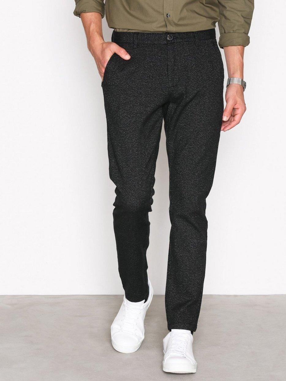 SHHARVAL BLACK STRUC SLIM ST PANTS