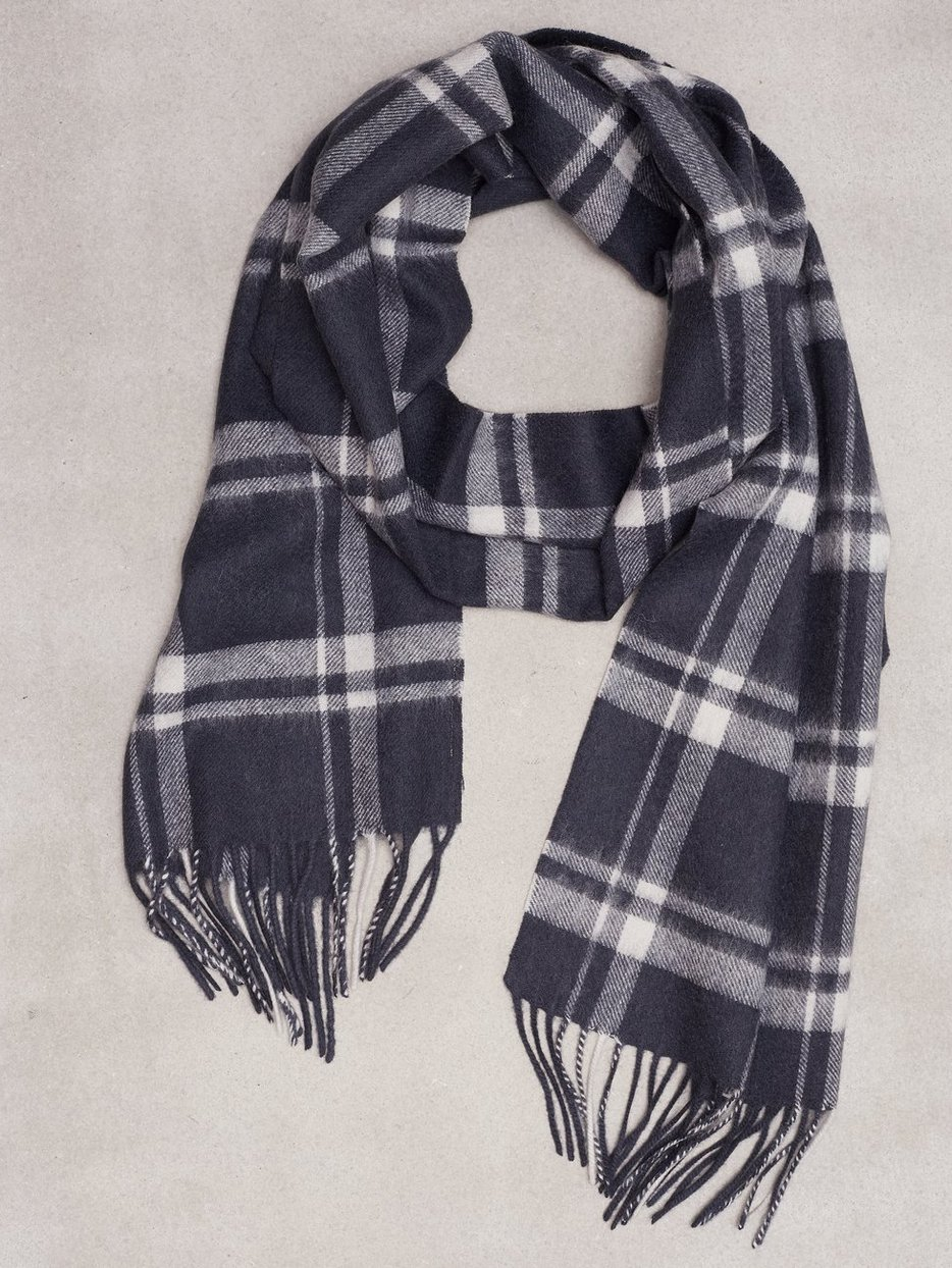 SHDTOPE WOOL CHECK SCARF