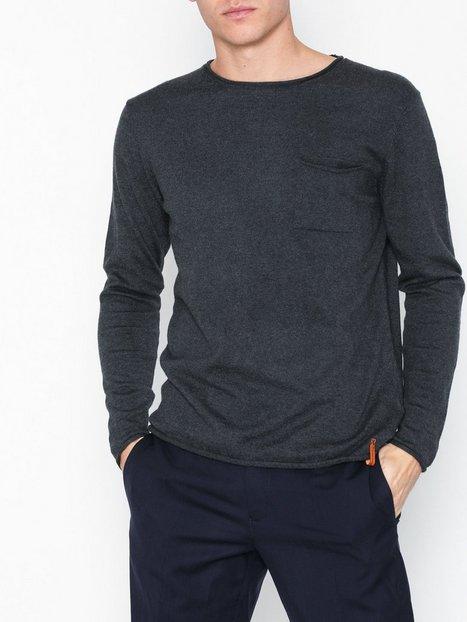 Knowledge Cotton Apparel Fine single knit with roll edges Trøjer Dark Grey Melange - herre