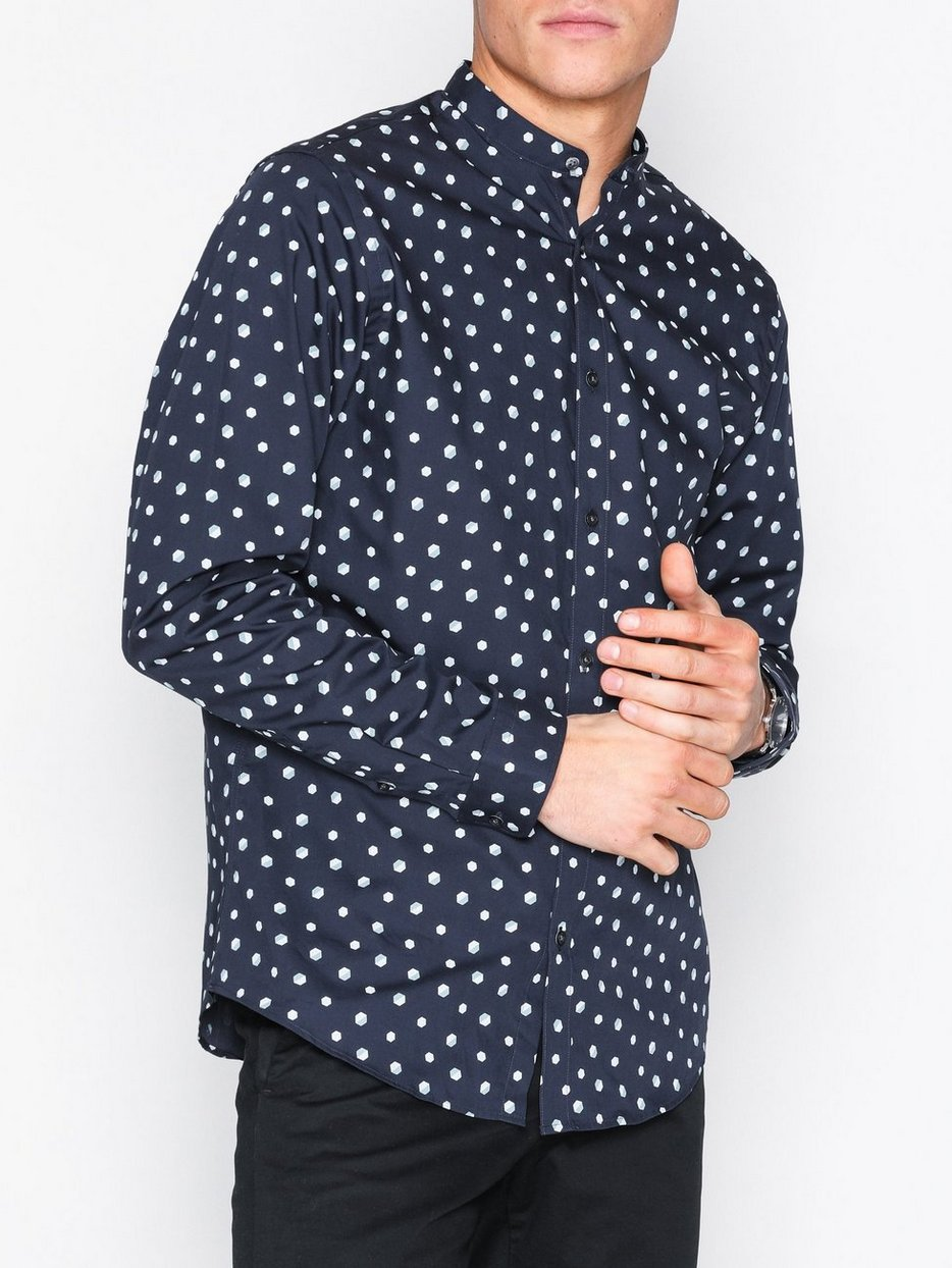 Jprwigan Geometric Shirt Ls Plain Premium By Jack Jones Dark