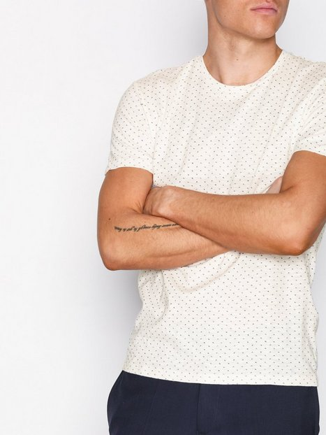 Selected Homme Shhkris Aop Ss O Neck Tee T shirts toppe Offwhite mand køb billigt