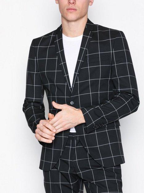 Selected Homme Shdzero Jet Grid Black Check Blazer Blazere jakkesæt Sort mand køb billigt