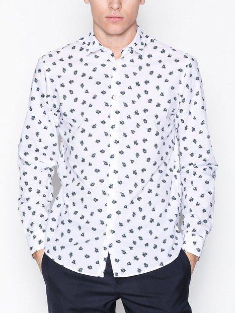 Selected Homme Shdtwoaqua Shirt Ls Aop Skjorter Hvid - herre