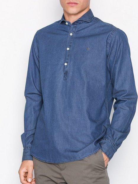Morris Bussarong Cut Away Shirt Skjorter Blue mand køb billigt