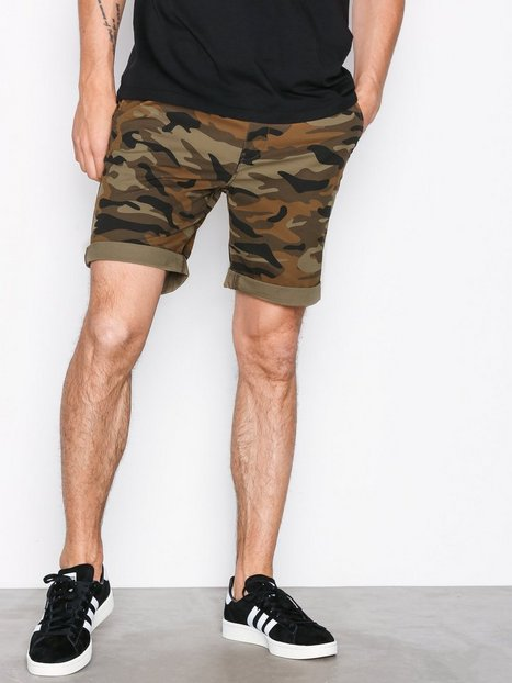 Selected Homme Slhstraight Paris Camo Shorts W Ex Shorts Brun - herre