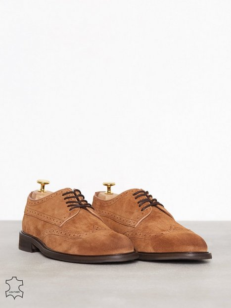 Selected Homme Slhbaxter Brogue Suede Shoe B Elegante sko Lysebrun - herre