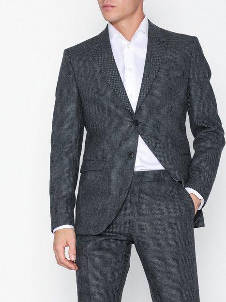 Selected Homme Slhslim Leediver Dk Grey Strc Blz B Blazere jakkesæt Mørkegrå mand køb billigt