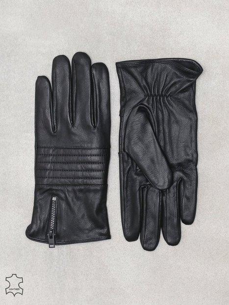 Selected Homme Slhnew Biker Leather Glove W Handsker vanter Sort mænd køb billigt