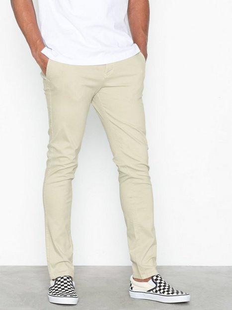 Selected Homme Slhskinny-Luca Silver Lin. Pants W Byxor Beige