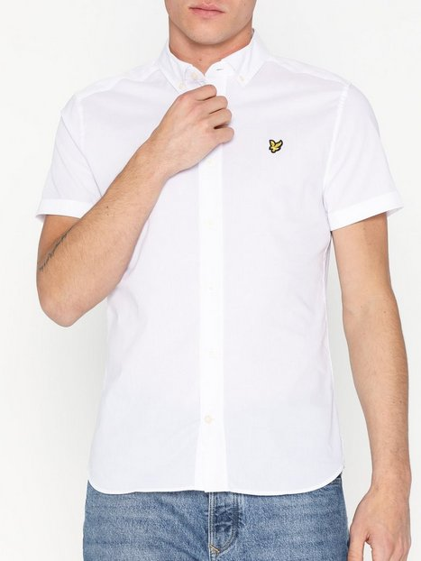 Lyle Scott SS Slim Stretch Poplin Shirt Skjorter White - herre