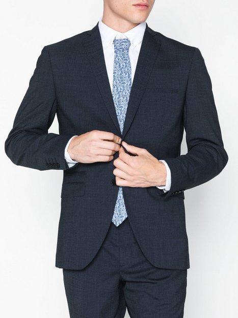 Selected Homme Slhslim Buffalonoah Blue Chk Blz B Blazere jakkesæt Mørkeblå mand køb billigt
