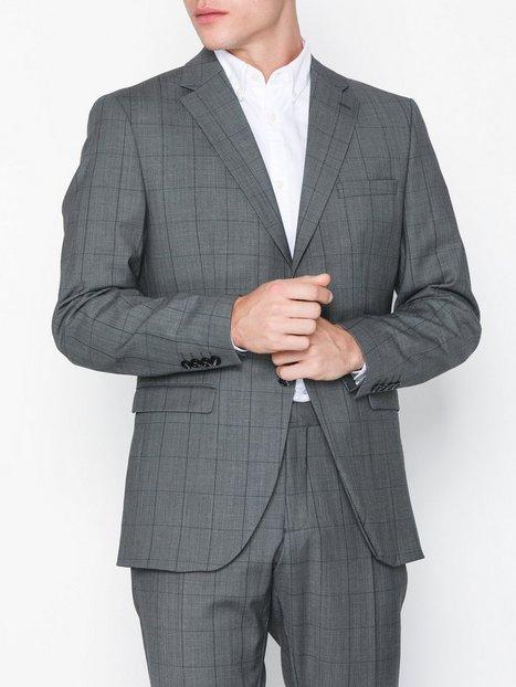 Selected Homme Slhslim Mylorob Grey Check Blz B No Blazere jakkesæt Grå mand køb billigt