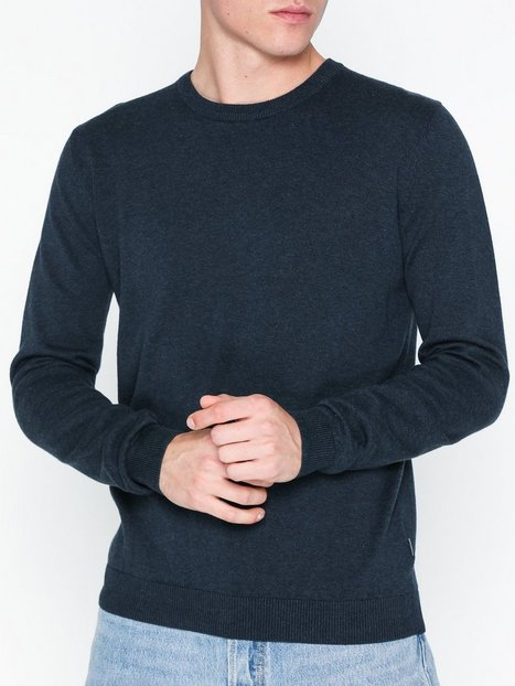 Solid Draper O Neck Knit Trøjer Navy mand køb billigt