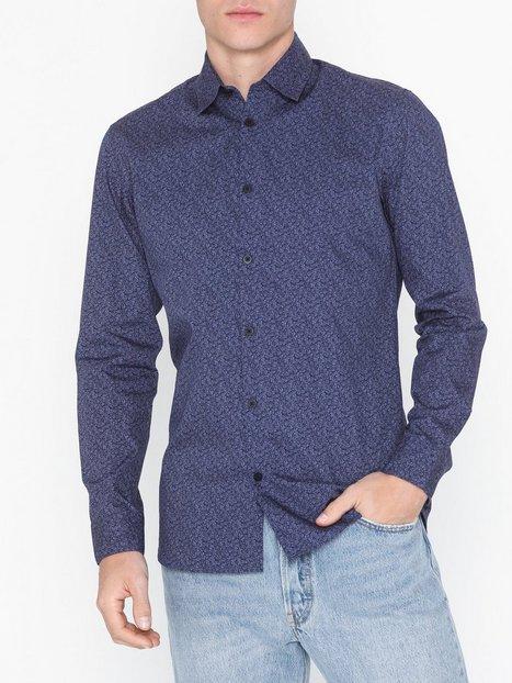 Selected Homme Slhslimneo Shirt Ls Aop B Skjorter Mørkeblå mand køb