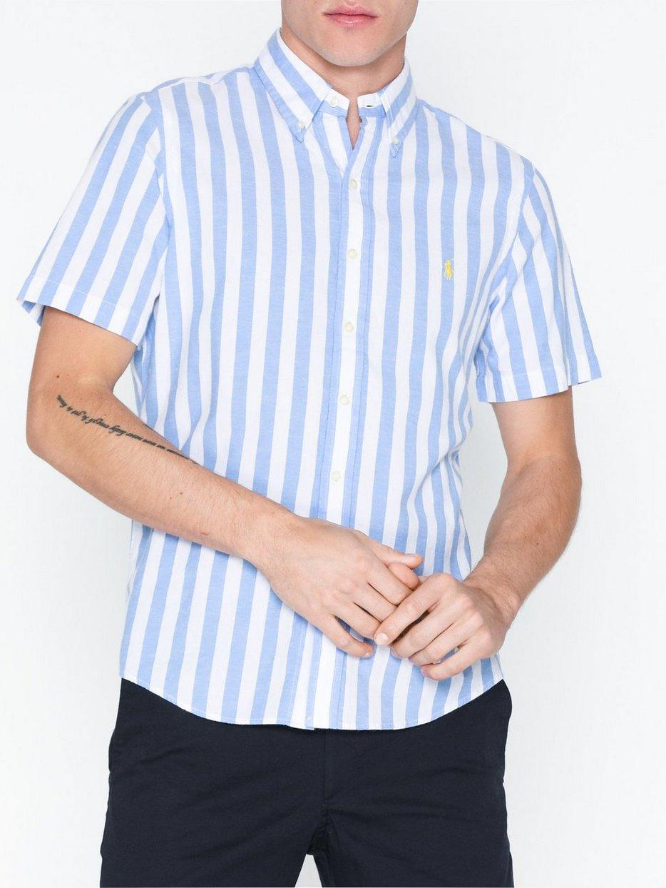 f38423cbc Short Sleeve Poplin Shirt - Polo Ralph Lauren - Blue White - Shirts ...