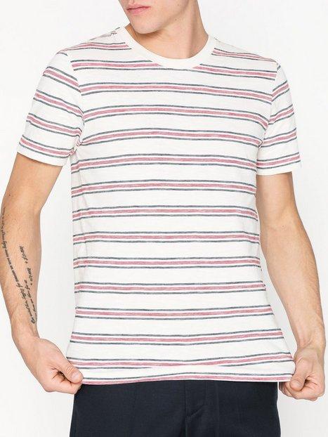 Selected Homme Slhkasper Stripe Ss O Neck Tee W Ca T shirts undertrøjer Egret - herre