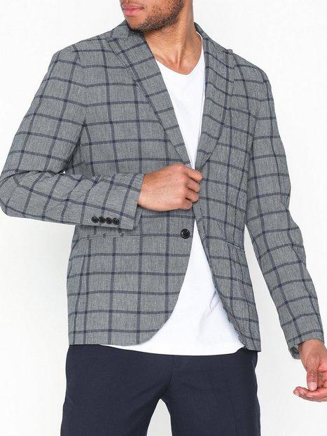 Selected Homme Slhslim Nik Check Blazer B Blazere jakkesæt Grå mand køb billigt