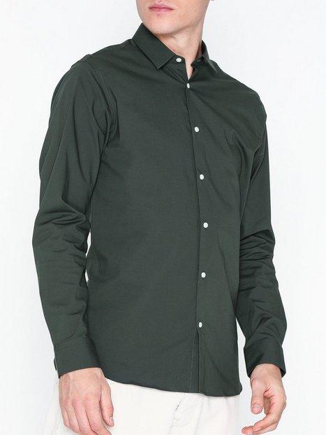 Selected Homme Slhslimpreston Clean Shirt Ls B Skjorter Mørkegrå mand køb billigt