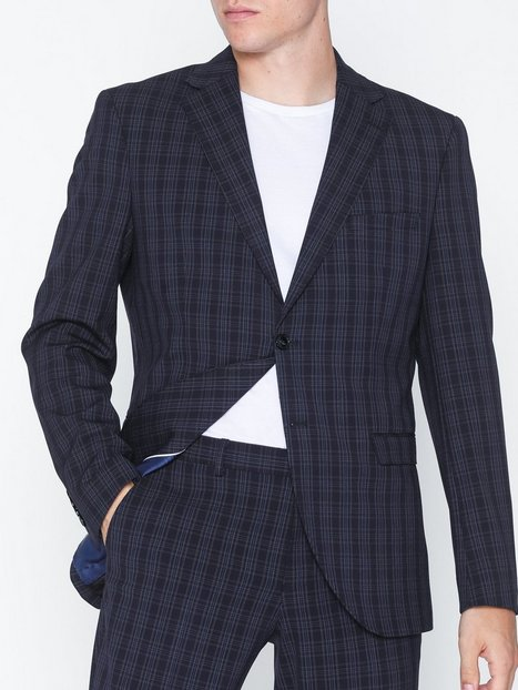 Selected Homme Slhslim Mylologan Navy Gr Chk Blz B Blazere jakkesæt Mørkeblå mand køb billigt
