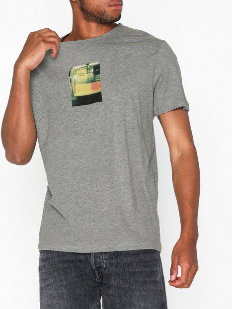 Jack Jones Jorlance Tee Ss Crew Neck T shirts undertrøjer Lysegrå mand køb billigt