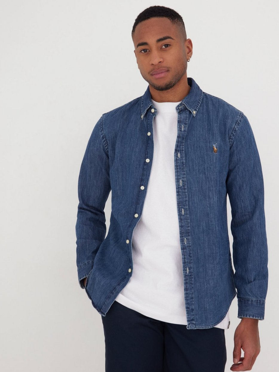 3c6a828a1b0 Slim Fit Denim Shirt - Polo Ralph Lauren - Dark Wash - Shirts (Men ...