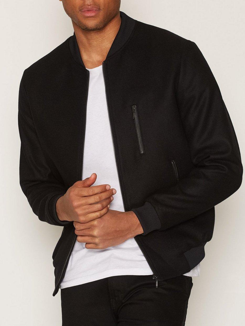Melton Wool Rich Smart Bomber Jacket - Topman - Black - Jackets ...