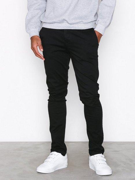 Topman Black Stretch Skinny Chinos Bukser Black - herre