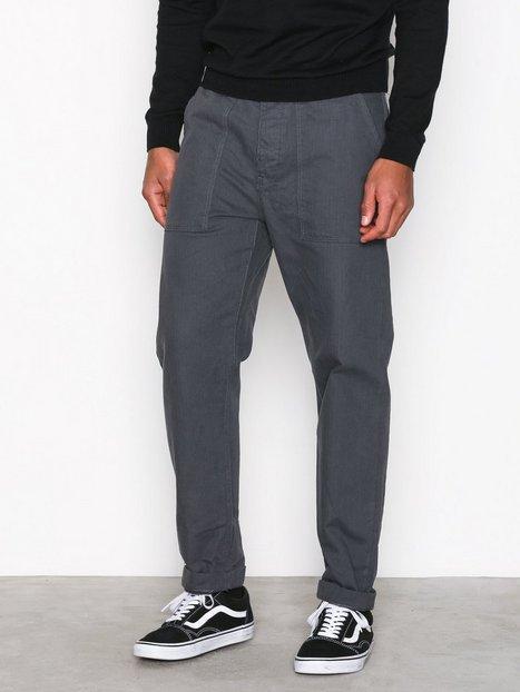 Topman Grey Original Fit Trousers Bukser Mid Blue mand køb billigt