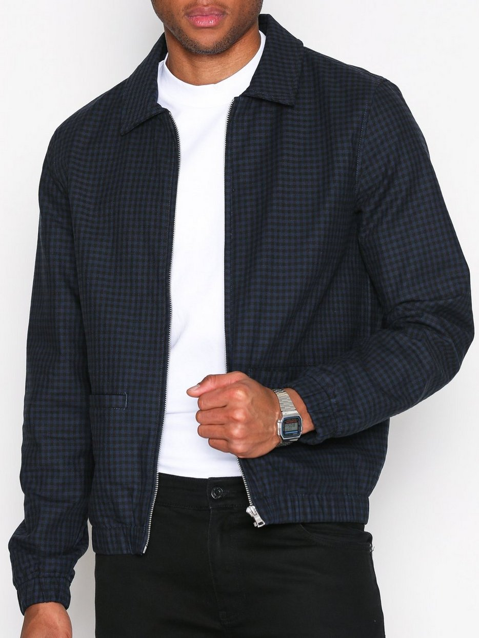 Navy Checked Harrington Jacket - Topman - Dark Blue - Jackets ...