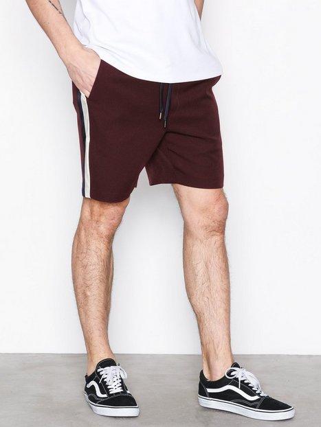Topman Burgundy Satin Side Stripe Shorts Shorts Burgundy - herre