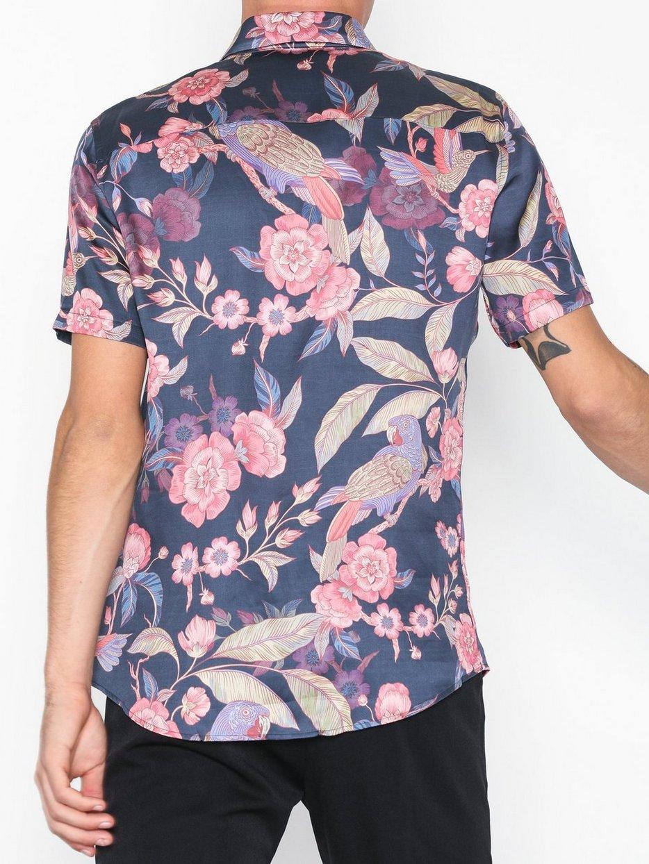 Premium Parrot Print Short Sleeve Shirt