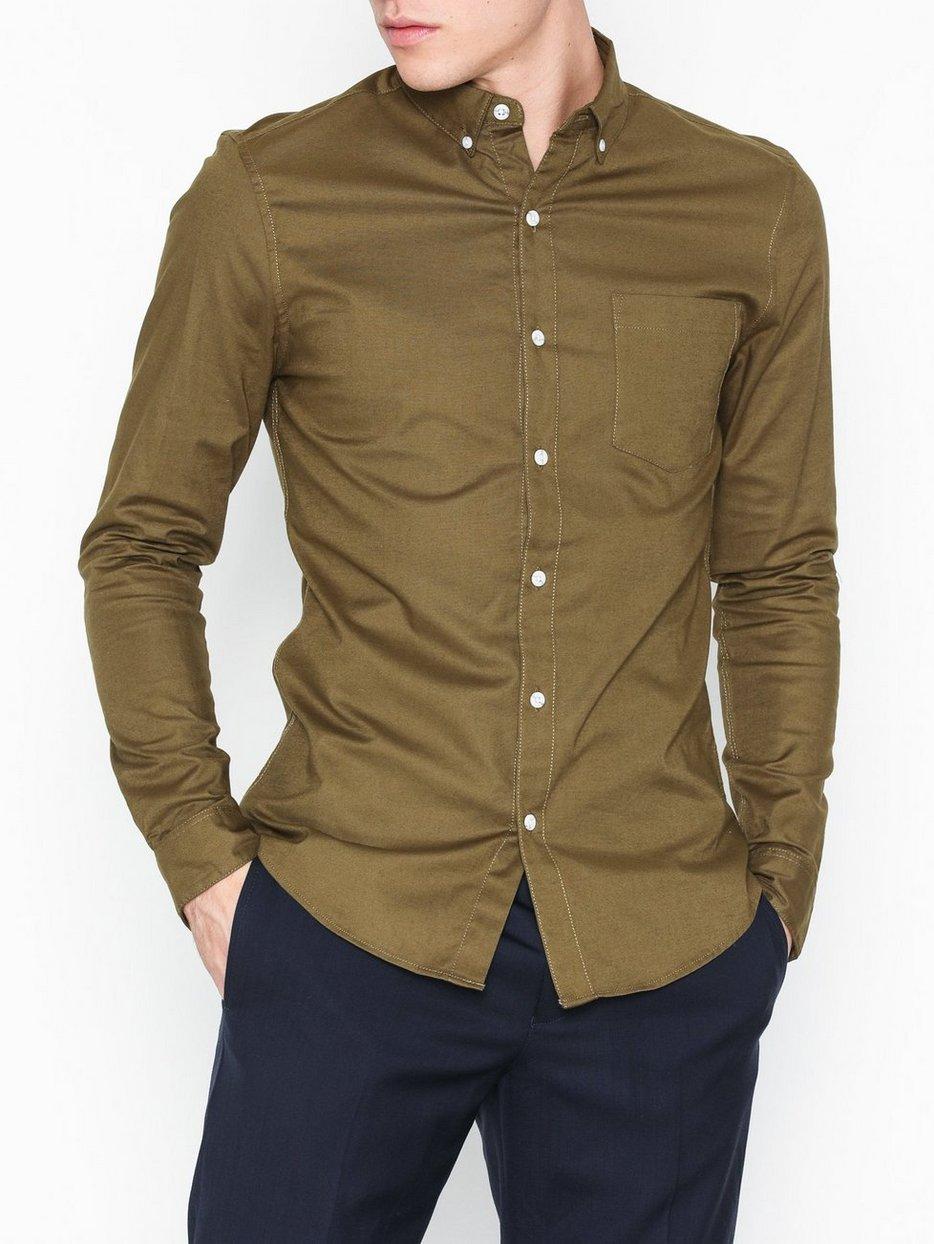 Khaki Stretch Skinny Oxford Shirt