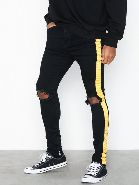 Sixth June Denim with Yellow Tape Jeans Black - herre