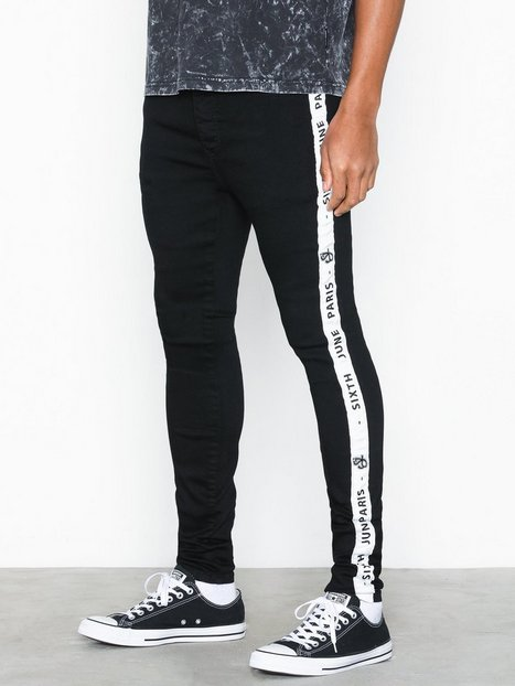 Sixth June Denim with Bands Jeans Black White mand køb billigt