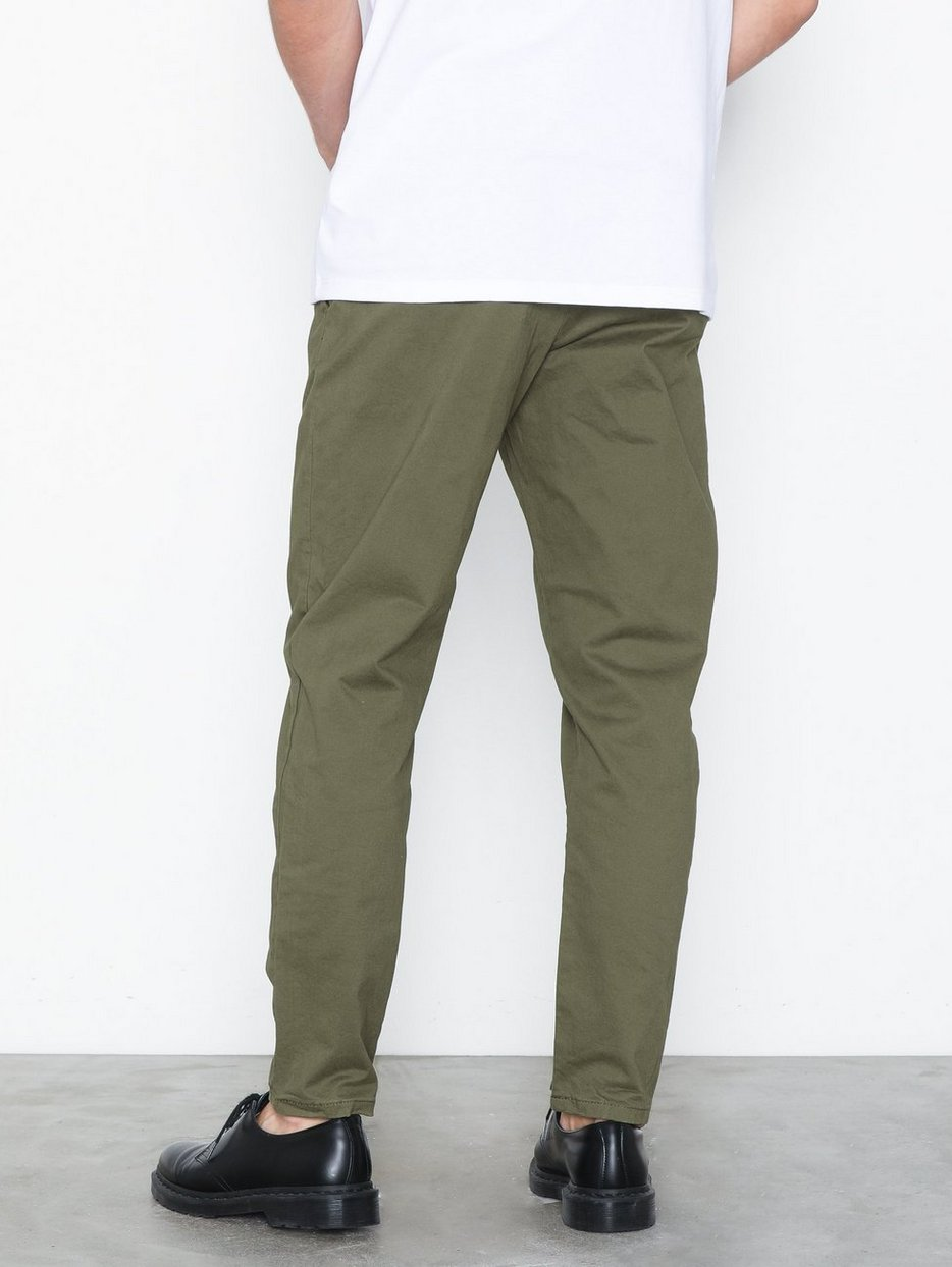 Khaki Relaxed Tapered Trousers