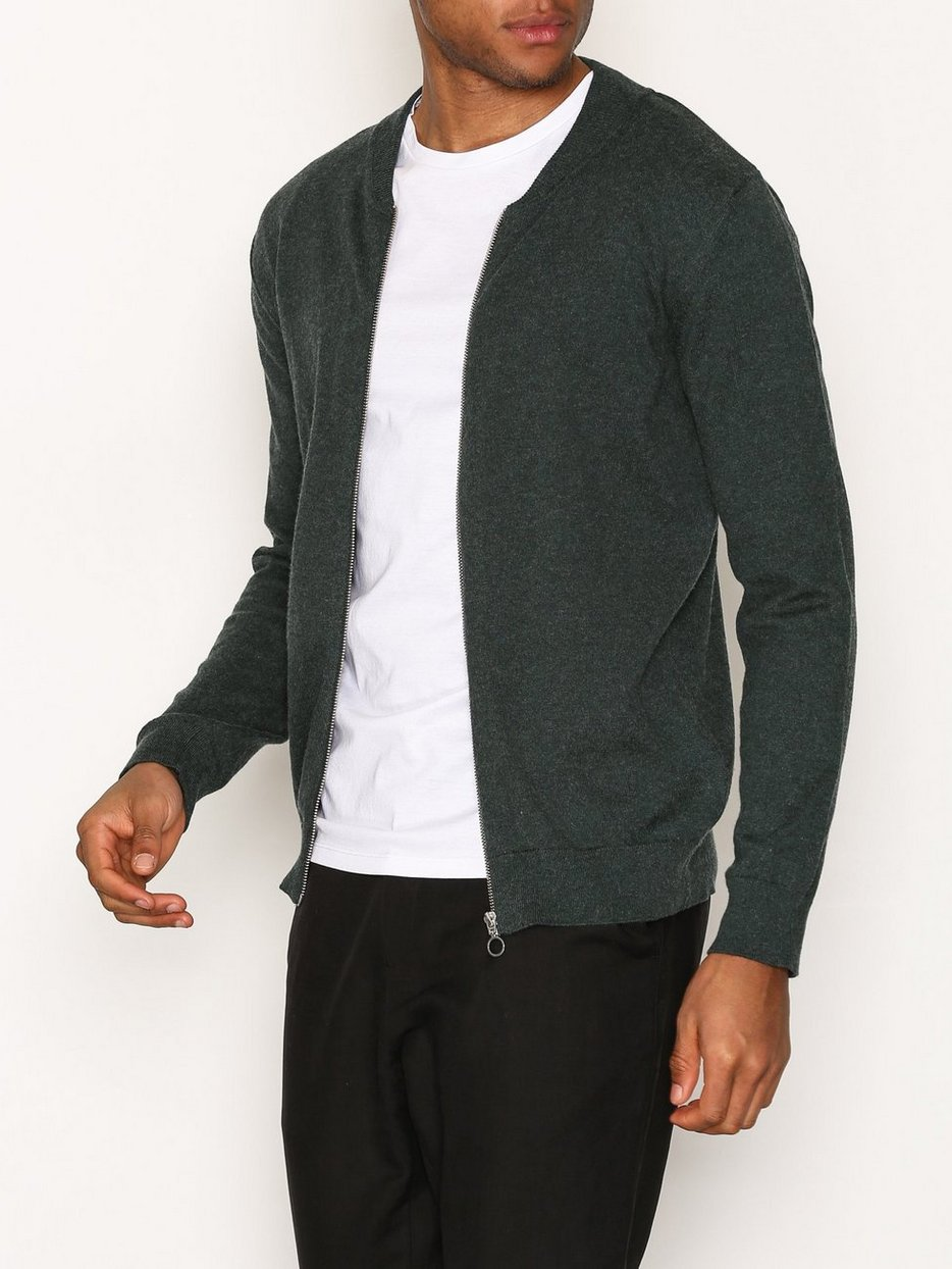 Cotton Cashmere Cardigan - Knowledge Cotton Apparel - Green ...