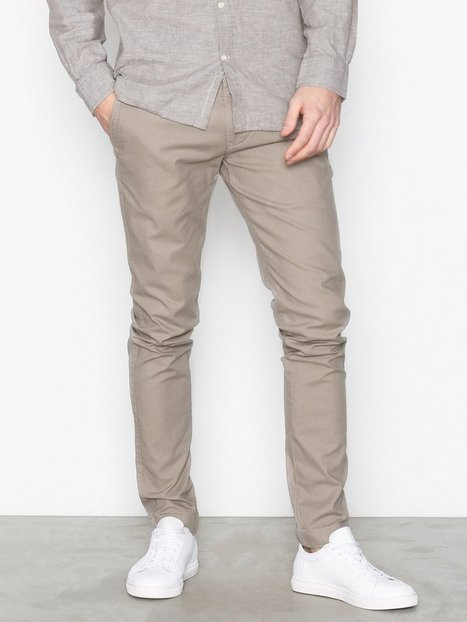 Knowledge Cotton Apparel Fabric dyed chino pant Bukser Light Grey - herre