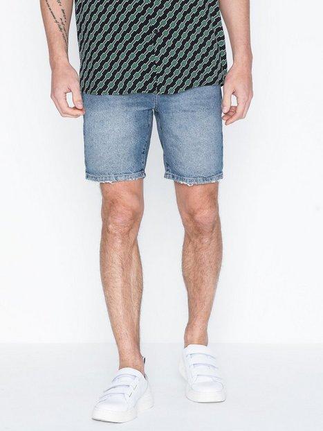 Topman Mid Wash Slim Fit Shorts Shorts Blue mand køb billigt