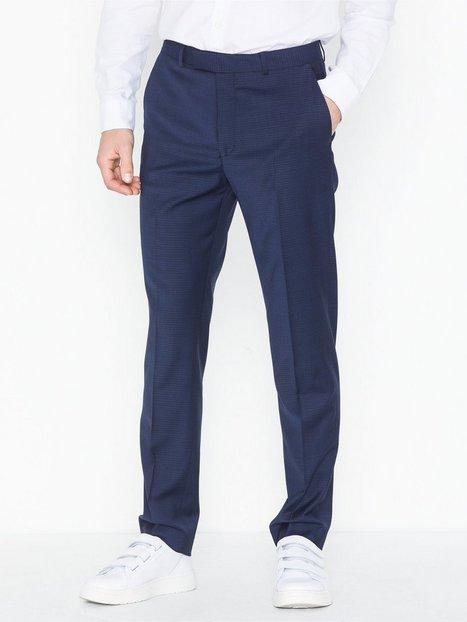 Topman Premium Navy Slim Check Trousers Bukser Navy Blue - herre
