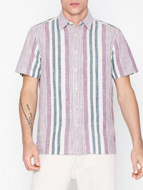 Topman Burgundy and Stone Woven Stripe Slim Shirt Skjorter Stripes - herre