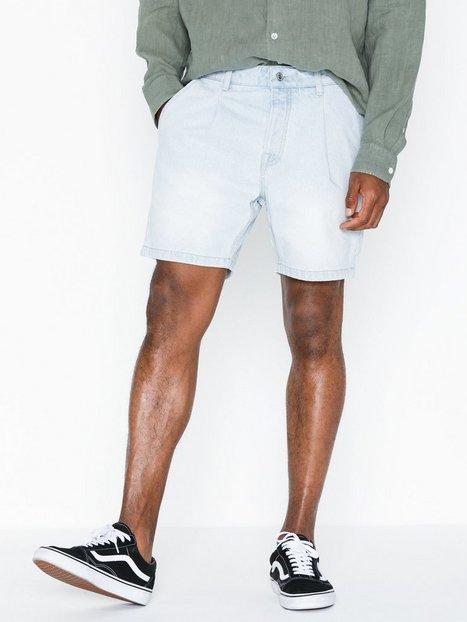 Topman Light Wash Pleated Denim Shorts In Shorter Length Shorts Denim mand køb billigt