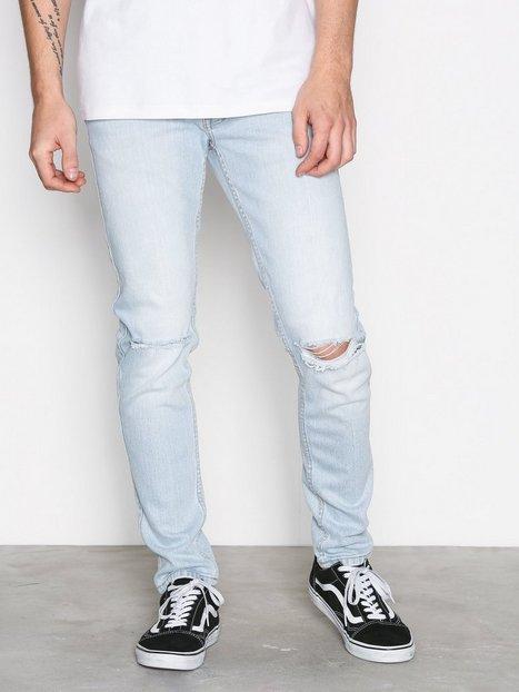 Dr Denim Clark Superlight Blue Ripped Jeans Light Blue mand køb billigt