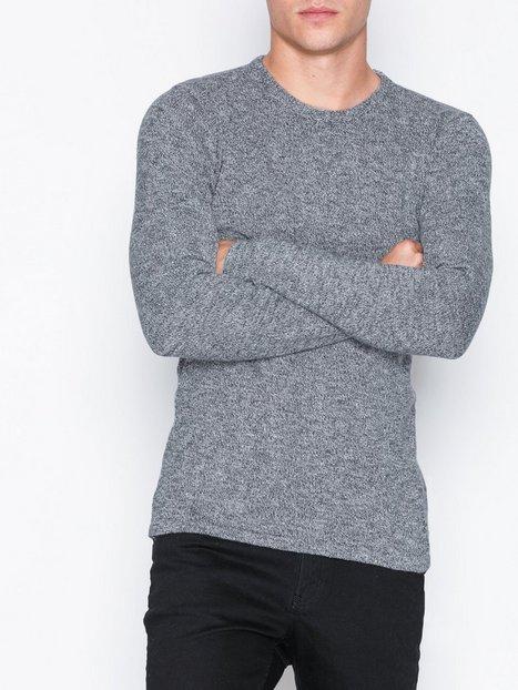 Solid Langston Knit Trøjer Grå mand køb billigt