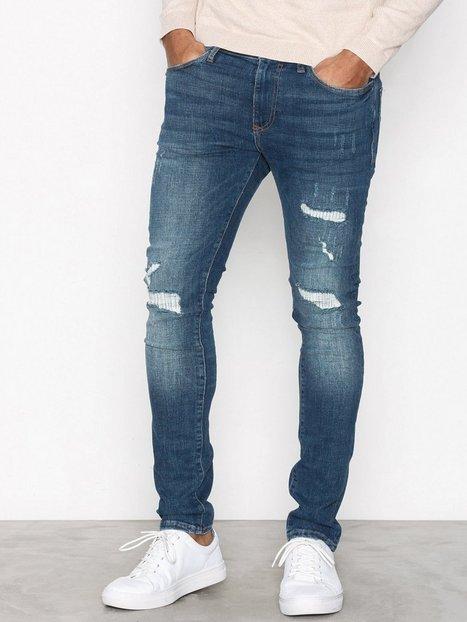 River Island Frog Greencast Jeans Mid Blue mand køb billigt